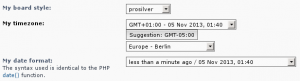 In this example my current timezone is set to Europe - Berlin where the current time is 1:40 am. However I am currently in New York City so phpBB suggests I update the timezone to match my local time which is UTC-5.